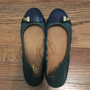 New Coach Delphine flats green and navy